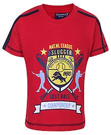 Taeko Half Sleeves T-Shirt With Championship Print - Red