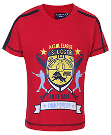 Taeko Half Sleeves T-Shirt With Championship Print - Red