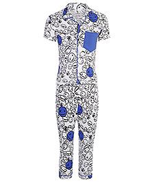 Cucumber Half Sleeve Night Suit Cartoon Print - Blue