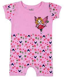 Babyhug Short Sleeves Romper Flowers Print - Pink
