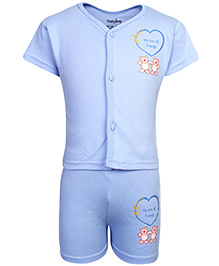 Babyhug Half Sleeves T-Shirt And Shorts - We Are All Friends Print