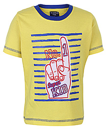 Taeko Half Sleeves T-Shirt With No 1 Super Kid Print - Yellow