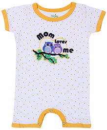 Babyhug Short Sleeves Romper - Mom Loves Me Print
