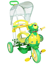 Fab N Funky Musical Baby Tricycle With Honey Bee Shape And Push Handle - Green and Yellow