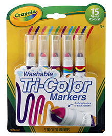 Crayola Washable Tri Colour Markers - 5 Markers