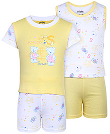 Babyhug 4 Piece Set Teddy Print - Yellow