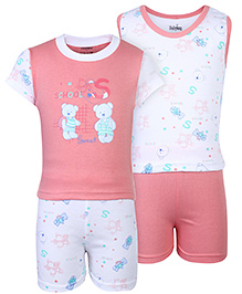 Babyhug 4 Piece Set Teddy Print - Pink