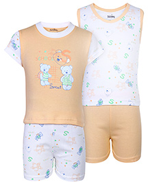 Babyhug 4 Piece Set Teddy Print - Orange