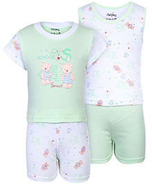Babyhug 4 Piece Set Teddy Print - Green