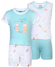 Babyhug 4 Piece Set Teddy Print - Aqua Blue