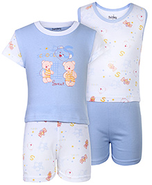 Babyhug 4 Piece Set Teddy Print - Blue