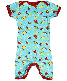 Earth Conscious Half Sleeves Romper Organic Cotton - Space Print