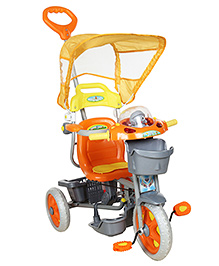Fab N Funky Musical Tricycle With Push Handle - Orange And Grey