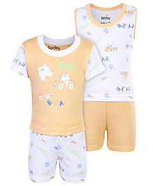 Babyhug 4 Piece Set Bear Print - Orange