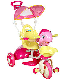 Fab N Funky Musical Baby Tricycle With Push Handle - Pink and Yellow