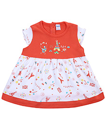 Tango Cap Sleeves Frock With Eiffel Tower Print - Orange and White