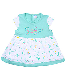 Tango Cap Sleeves Frock With Eiffel Tower Print - Sea Green and White