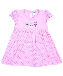 Tango Short Puffed Sleeves With Dotted Print - Pink