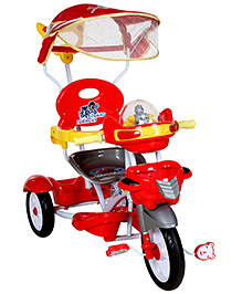 Fab N Funky Baby Musical Tricycle With Push Handle - Red