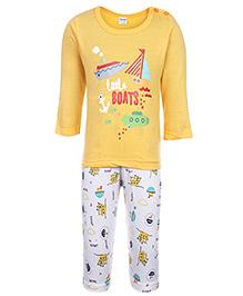 Tango Full Sleeves Printed T-Shirt And Legging Set - Yellow