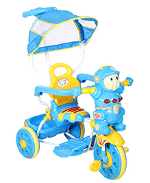 Fab N Funky Musical Tricycle With Push Handle And Canopy - Blue and Yellow