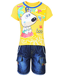 Babyhug Half Sleeves Printed T-Shirt And Denim Shorts Yellow - Polar Bear Print
