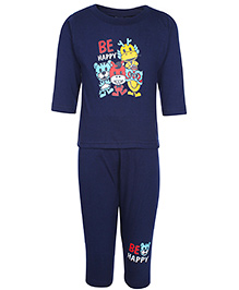 Cucumber Full Sleeves T-Shirt And Legging Set With Animal Print - Navy Blue