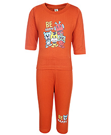 Cucumber Full Sleeves T-Shirt And Legging Set With Animal Print - Orange