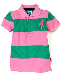 New York Polo Academy Half Sleeves T-Shirt With NY Polo Logo - Pink and Green