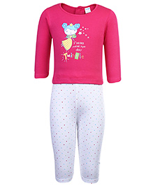 Tango Full Sleeves Top And Legging Set With Fairy Print - Dark Pink
