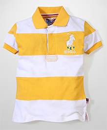 New York Polo Academy Half Sleeves T-Shirt With NY Polo Logo - White and Yellow
