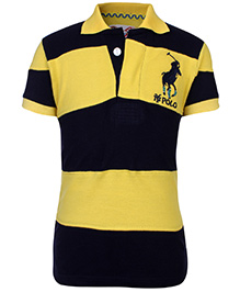 New York Polo Academy Half Sleeves T-Shirt With NY Polo Logo - Black and Yellow