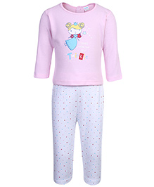 Tango Full Sleeves Top And Legging Set With Fairy Print - Light Pink