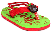 Fisher Price Teddy Printed Flip Flop With Back Elastic Strap - Green