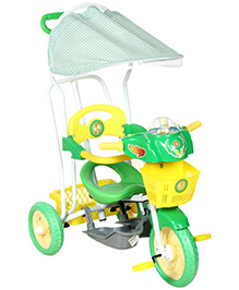 Fab N Funky Musical Tricycle With Push Handle - Green and Yellow