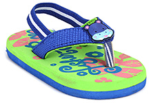 Fisher Price Leaf Printed Flip Flop With Back Elastic Strap - Blue And Green
