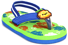 Fisher Price Teddy Printed Flip Flop With Back Elastic Strap - Blue And Green