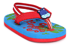 Fisher Price Leaf Printed Flip Flop With Elastic Strap - Red And Blue