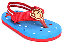 Fisher Price Dots Printed Flip Flop With Back Elastic Strap - Red And Blue