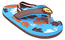Fisher Price Animal Printed Flip Flop With Elastic Strap - Dark Brown And Blue