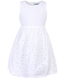 Babyhug Sleeveless Chikan Work Frock - White