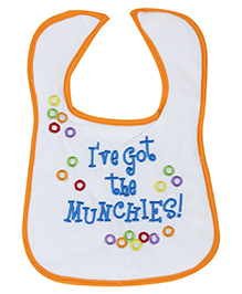 Mee Mee Printed Baby Bib - White And Orange