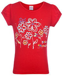 Tango Short Sleeves Flower Printed Top - Red