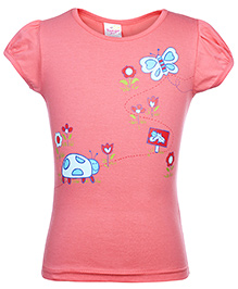 Tango Short Sleeves Butterfly Printed Top - Pink