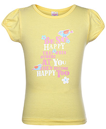 Tango Short Sleeves Printed Top - Yellow