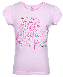 Tango Short Sleeves Flower Printed Top - Light Pink