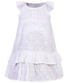 Babyhug Cap Sleeves Frock - White