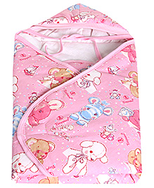 Tinycare Hooded Baby Wrapper Pink