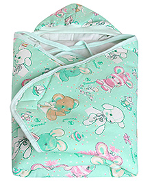 Tinycare Hooded Baby Wrapper Turquoise