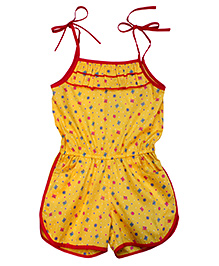 Campana Tie Up Strap Jumpsuit Yellow - Butterfly Print